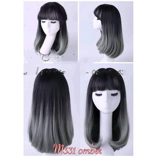 tóc giả nữ mái ngang dài vừa phải tặng kèm lược chải