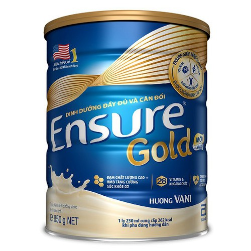 Sữa Ensure gold hương vali 850g date 2020 tặng kèm 1 gói 54g