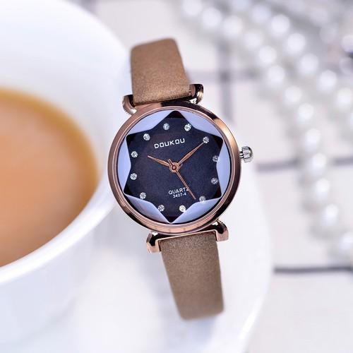 Đồng hồ nữ DouKou 71754 dây da cao cấp màu nâu mặt đen