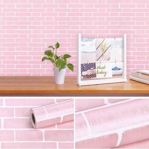 10m giấy dán tường gạch hồng có sẵn keo khổ rộng 45cm