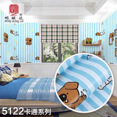 10m giấy dán tường gấu xanh kẻ ngộ nghĩnh có sẵn keo khổ rộng 45cm