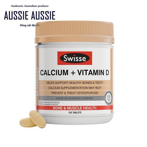Viên uống bổ sung vitamin D + canxi cho người lớn Swisse Ultiboost Calcium + Vitamin D 150 viên