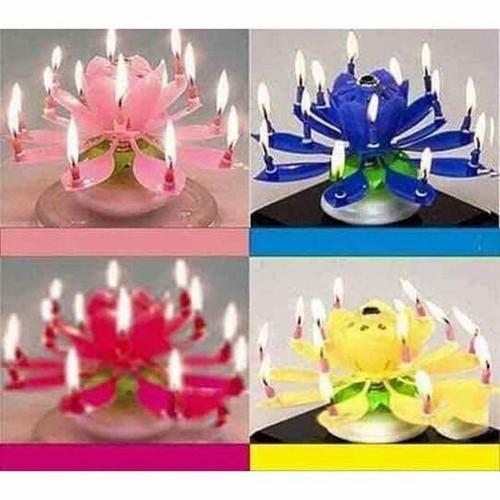 Nến sinh nhật 3D tự động xoay tròn nở hoa phát nhạc