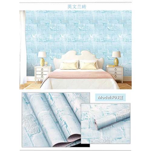 10m giấy dán tường giả gạch xanh in chữ có sẵn keo khổ rộng 45cm