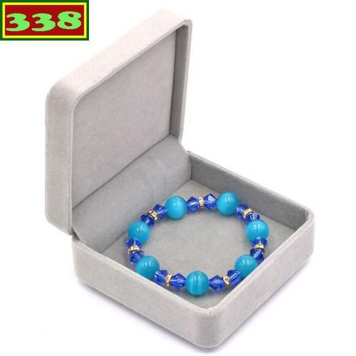 Vòng chuỗi đeo tay phong thủy đá mắt mèo xanh FTHXX2 kèm hộp nhung