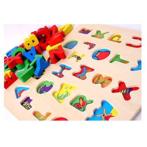 Đồ chơi gỗ an toàn cho bé - Bộ bảng chữ cái tiếng Anh kèm trò chơi Cá Ngựa