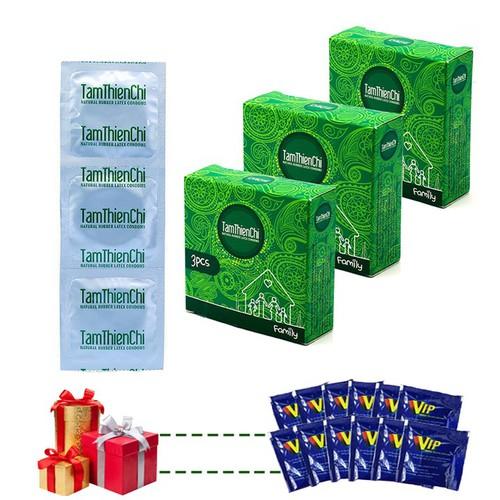Bao cao su TTC Gia đình mỏng trơn bộ 9 cái và 12 gói gel VIP
