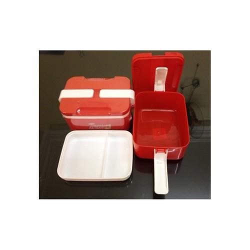 hộp cơm nhựa 2 ngăn chữ nhật, có khóa cài 17x13x9cm. L1541
