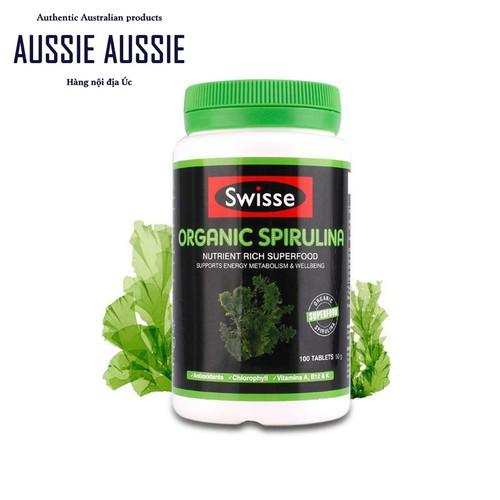 Viên uống tảo xoắn tảo biển hữu cơ Úc Swisse Organic Spi.rulina 100 viên aussie.vn
