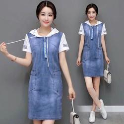 Đầm Jean Suông Phối Nón