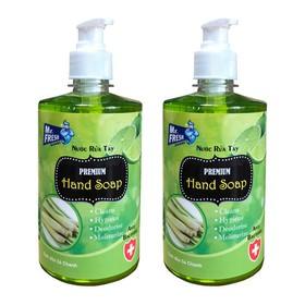 Bộ 2 bình nước rửa tay tiệt trùng Mr Fresh Korea 500ml Hương Xả Chanh - BH456