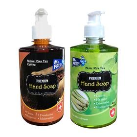 Bộ 2 bình nước rửa tay tiệt trùng Mr Fresh Korea 500ml Hương Chanh Xả và Cà Phê - BH456-3