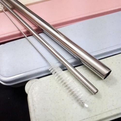 Bộ 2 ống hút inox thẳng màu bạc có ống hút trân châu kèm hộp đựng và 1 cọ