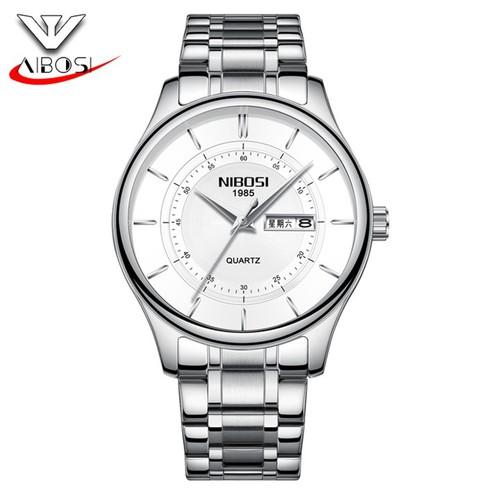 Đồng hồ nam Nibosi 2312 dây thép không gỉ màu bạc mặt trắng