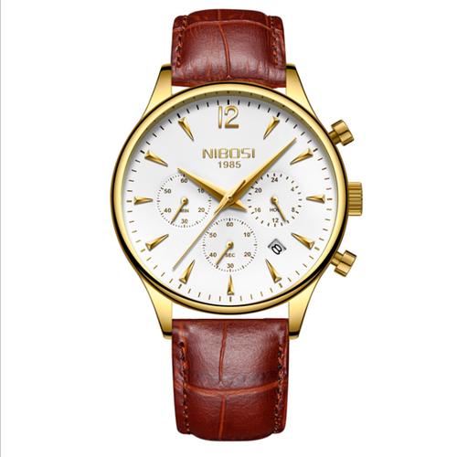 Đồng hồ nam Nibosi 2326 dây da cao cấp màu nâu mặt trắng viền vàng