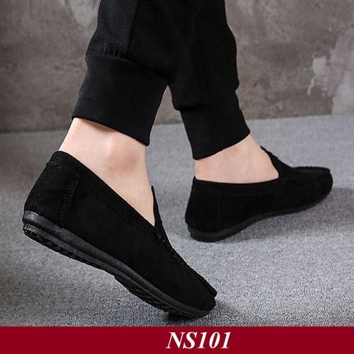 TẶNG TẤT LƯỜI CAO CẤP - Giày Lười Nam da Hàn Quốc Màu Đen ns101