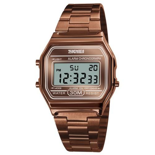 Đồng hồ nam - nữ Skmei 1123 màu full nâu chất liệu thép không gỉ