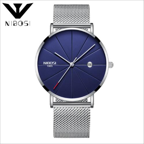 Đồng hồ nam Nibosi 2321 dây thép lụa không gỉ màu bạc mặt xanh