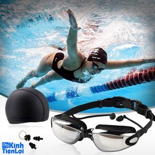 Kính bơi CẬN Chống UV Tráng Gương Chống Mờ Cao cấp Tặng Mũ Bịt Mũi - KBC99 thumbnail