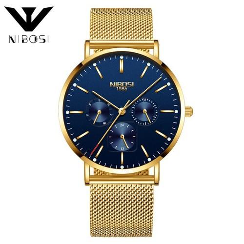 Đồng hồ nam Nibosi 2321-1 dây thép lụa không gỉ màu vàng mặt xanh