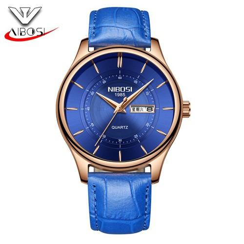Đồng hồ nam Nibosi 2312 dây da cao cấp màu xanh mặt xanh viền vàng