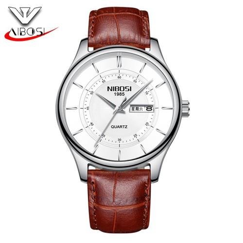 Đồng hồ nam Nibosi 2312 dây da cao cấp màu nâu mặt trắng viền bạc