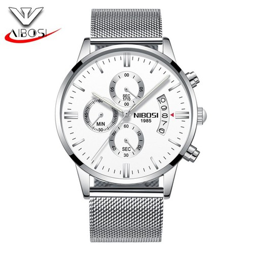 Đồng hồ nam Nibosi 2309 dây thép lụa không gỉ màu bạc mặt trắng
