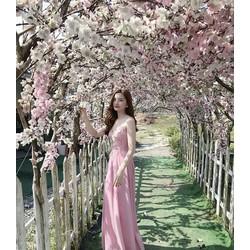 Đầm maxi ren kết hoa thêu phối voan lung linh
