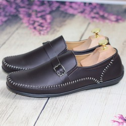 Giày Lười Nam Thời Trang Chỉ Trắng Màu Nâu