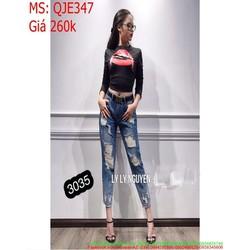 Quần jean nữ lưng cao rách chỉ trắng sành điệu QJE347