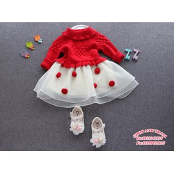 Đầm len và voan cao cấp cho bé từ 10kg đến 25kg
