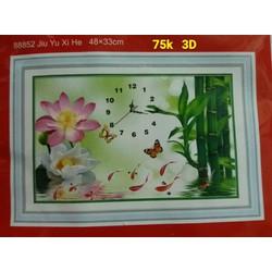 Tranh thêu chữ thập đồng hồ cá chép hoa sen