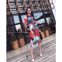💢 Đầm sơmi hoạ tiết phối màu 💢