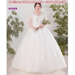 Váy cưới ren cổ chữ V, váy cưới mập AC629