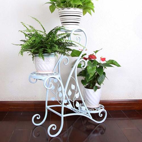 Kệ để cây cảnh 3 tầng trắng - Kệ sắt 3 tầng - kệ để hoa