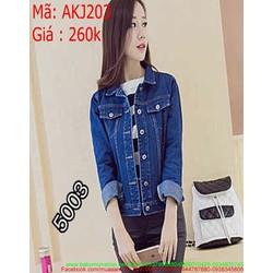 Áo khoác jean nữ cổ bẻ xanh đậm kiểu viền chỉ nối AKJ203