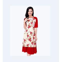 Set Áo Dài Hoa + Chân Váy Xòe Dịu Dàng