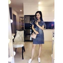 💢 Đầm suông jean was đá xanh túi phối 💢