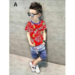 Set bộ  Bobo Kids áo thun quần jean hoa văn cho bé trai