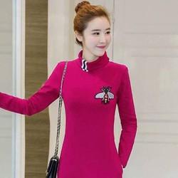 Đầm suông cổ lọ cao cấp màu hồng sen