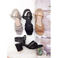 Giày sandal cao gót 5cm phối lưới