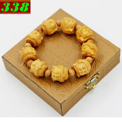 Vòng tay gỗ Hoàng đàn khắc Phật A di đà kèm hộp gỗ
