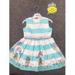 Đầm sọc ngang họa tiết cho bé gái
