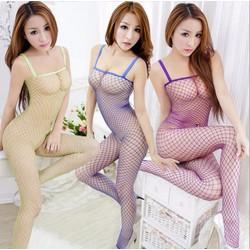 Đồ ngủ sexy lưới to liền thân gợi cảm khoét đáy 2 dây nhỏ