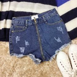 Quần sooc jeans xước xé gấu phối dây kéo khóa