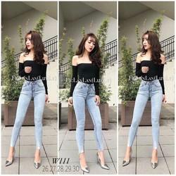 Jeans cao cấp siêu co giãn woat màu bạc siêu đẹp form chuẩn