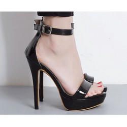 Giày cao gót 13 phân quai ngang da bóng
