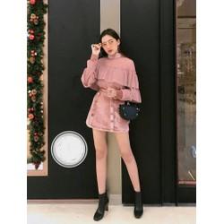 Sét chân váy nhung áo voan hồng