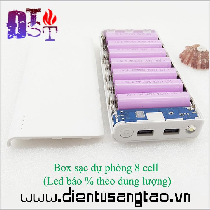 Box sạc dự phòng 8 cell  Led báo phần trăm theo dung lượng 1