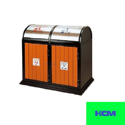 Thùng rác inox gỗ đôi HTL-027